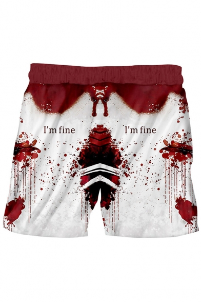 Popular Fashion 3D Letter I'M FINE Bloodstain Printed Drawstring Waist White and Red Polyester Relaxed Shorts