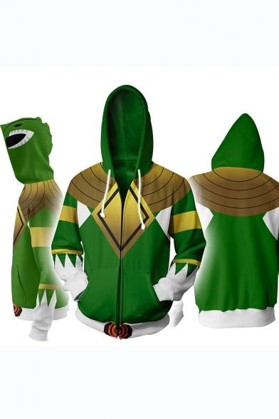 Power Rangers 3D Comic Printed Cosplay Costume Long Sleeve Zip Up Fitted Hoodie