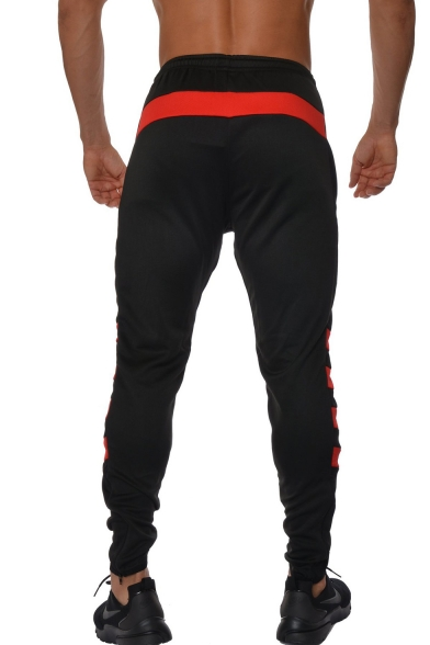 Simple Fashion Logo Patched Colorblocked Stripe Patched Drawstring Waist Jogger Sweatpants