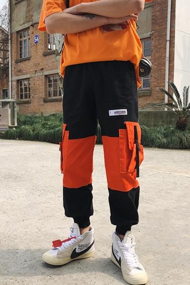 Street Style Trendy Color Block Buckle Strap Pocket Side Men's Hip Pop Casual Cargo Pants