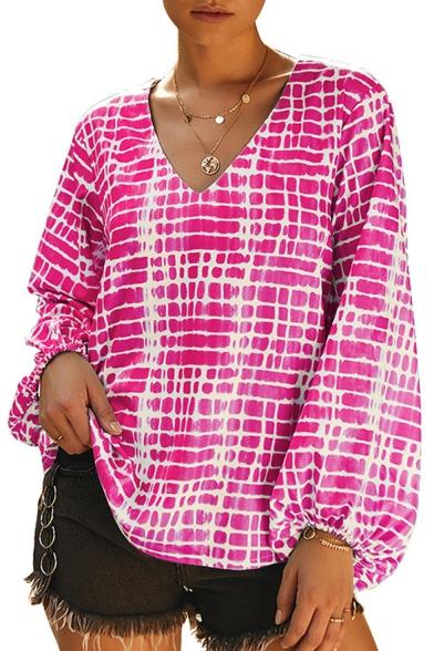 Stylsih Womens V Neck Long Elastic Sleeve Abstract Print Loose Blouse