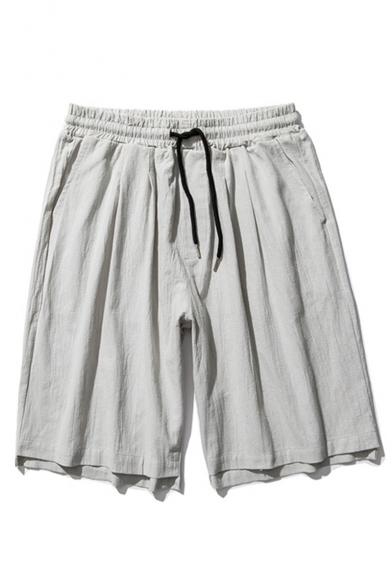 Summer Fashion Drawstring Waist Liner Solid Color Loose Fit Casual Shorts