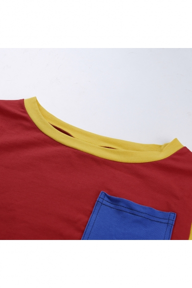 Summer Hot Fashion Color Block One Pocket Patched Round Neck Short Sleeve Slim Fit Red Cropped Tee