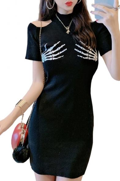 Summer Hot Fashion Plain Cold Shoulder High Neck Short Sleeve Skeleton Hand Print Mini Bodycon Dress