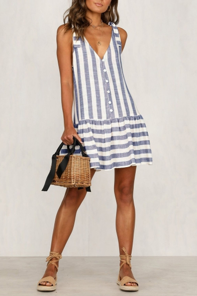 Summer Hot Popular Striped Printed V-Neck Sleeveless Button Front Mini Dress