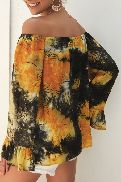 Summer Hot Stylish Off Shoulder Tie Dye Floral Print Tie-Front Ruffle Cuff Blouse