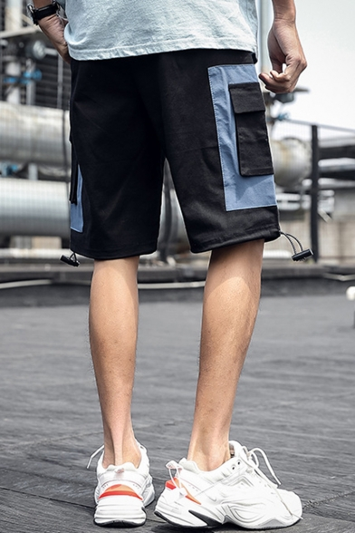 Summer New Fashion Letter Printed Colorblocked Flap Pocket Drawstring Cuffs Casual Loose Cargo Shorts for Men