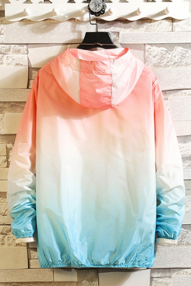 Summer Outdoor Sun Protection Fashion Ombre Color Zip Up Hooded Skin Jacket Coat
