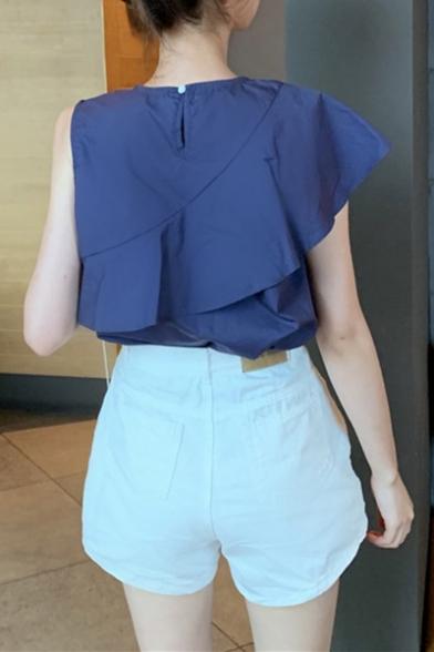 Summer Sweet Girls Unique Design Ruffled Hem Button Embellished Sleeveless Blouse Top
