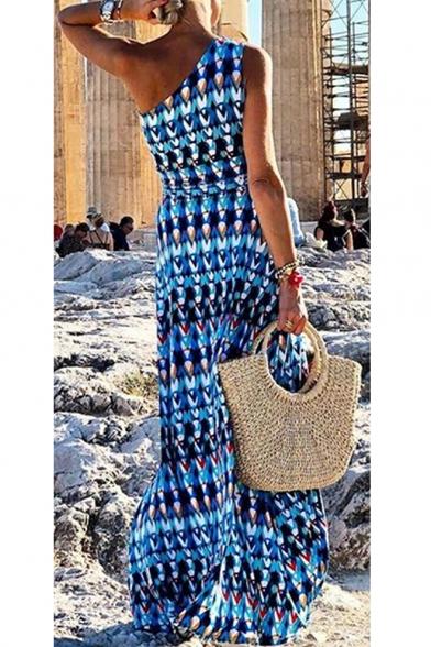 Trendy Blue Tribal Printed One Shoulder Sleeveless Maxi Beach Bohemian Dress