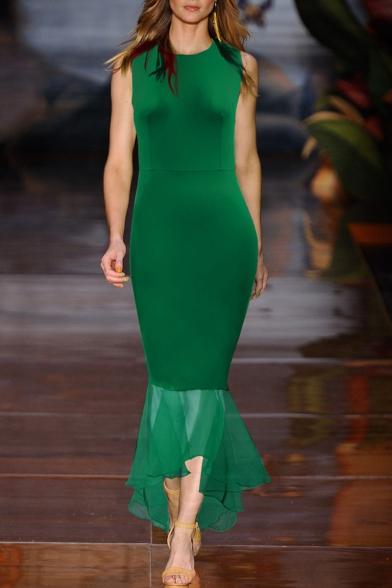 Trendy Womens Plain Sleeveless Round Neck Mesh Patch Maxi Bodycon Fishtail Dress