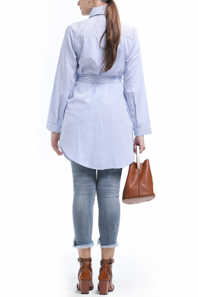 Womens Chic Floral Embroidery Long Sleeve Tied Waist Blue Striped Longline Shirt