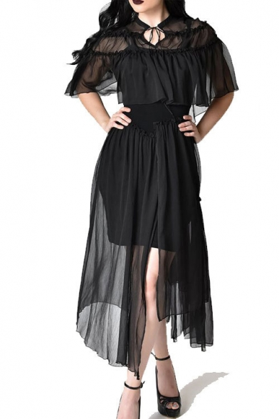 Womens Designer Fashion Black Sexy Black Mesh Maxi A-Line Asymmetrical Tulle Dress