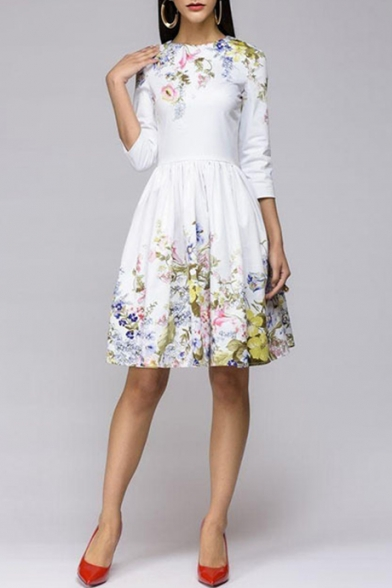 Womens Elegant Chic Simple Floral Printed Three-Quarter Sleeve White Midi Pleated Fit and Flared Dress