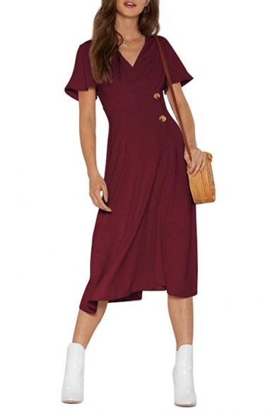 Womens Fancy Simple Plain Surplice V-Neck Short Sleeve Two-Button Embellished Midi A-Line Dress