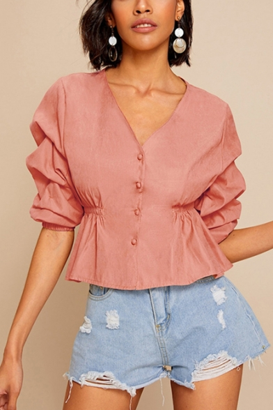 Womens Fancy Vintage Puff Sleeve V-Neck Elastic Waist Button Down Blouse Shirt