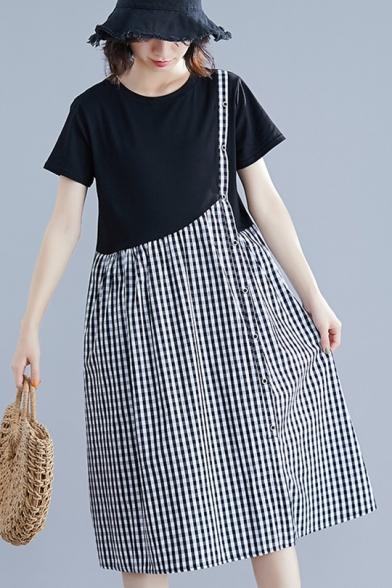 Womens Fashion Fake Two-Piece Plaid Print Round Neck Short Sleeve Midi Swing Dress