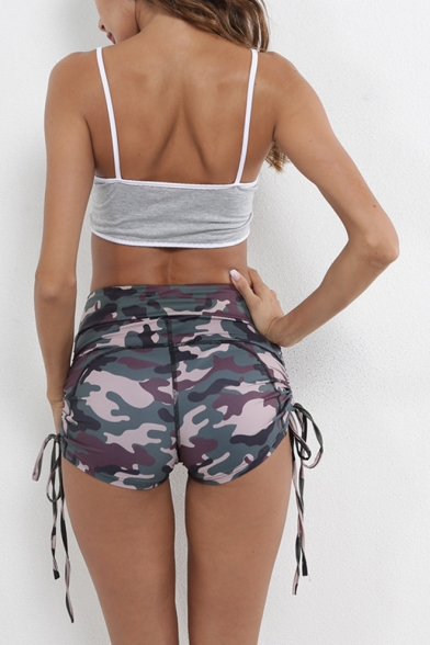 Womens Hot Popular Camo Printed Drawstring Side Skinny Fit Sport Yoga Shorts