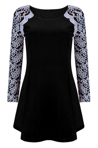 Womens Hot Popular Round Neck Lace Long Sleeve Plain Mini A-Line Dress