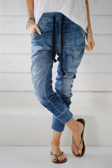 Baycheer / Womens Hot Sale Self Tie Multi Pocket Haren Denim Pants