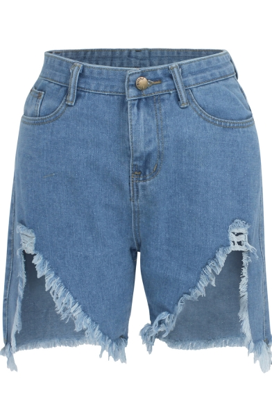 Womens New Stylish Blue Destroyed Shredded Slouch Raw Hem Casual Denim Shorts