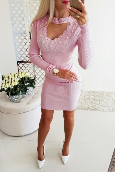 Womens Stylish Curved V-Neck Pearl Embellished Long Sleeve Mini Bodycon Dress