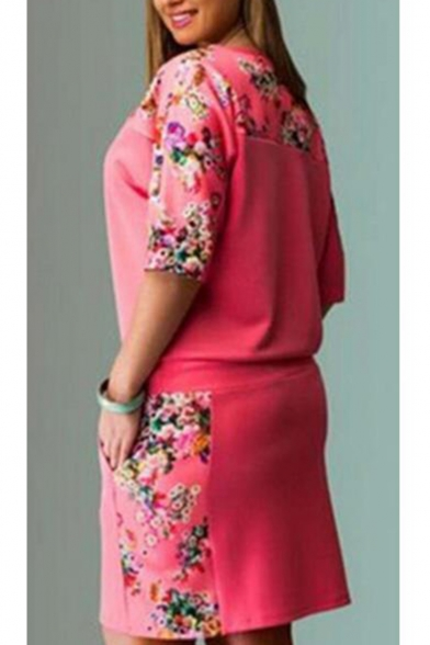 Womens Stylish Oversize Floral Print Half Sleeves Drawstring Waist Pocket Front T-Shirt Dress