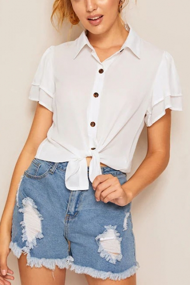 Womens Summer Fashion Plain White Flutter Short Sleeve Button Down Chiffon Shirt