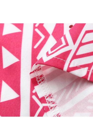 Womens Summer Tribal Printed V-Neck Sleeveless Tied Hem Tank Top