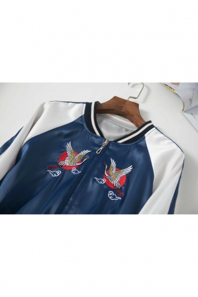 Chic Crane Embroidery Stand Collar Long Sleeve Zip Up Reversible Baseball Jacket