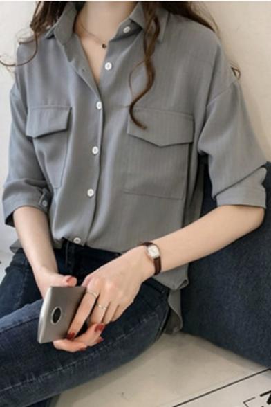 Fashion Vertical Striped Pattern Flap Pocket Front Button Down Shirt