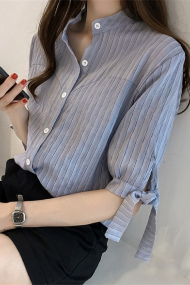 Girls Basic Simple Vertical Striped Print Stand Collar Loose Casual Button Shirt