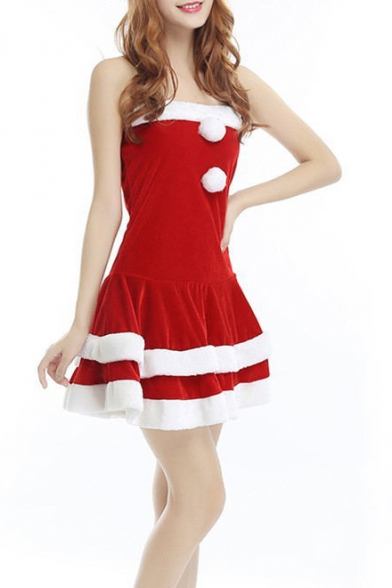 Girls New Fashion Christmas Cosplay Red Mini Bandeau Dress Performance Dress with Hat