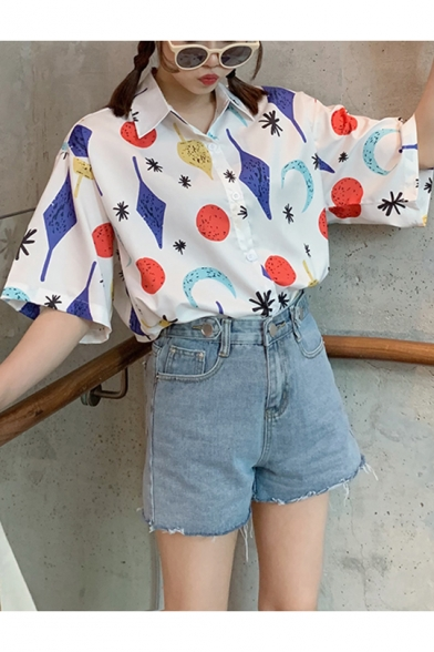 Girls Summer Fancy Pattern White Short Sleeve Loose Casual Holiday Shirt