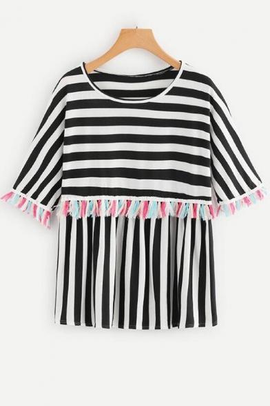 Girls Summer Fashion Vertical Striped Print Tassel Hem Loose Relaxed T-Shirt