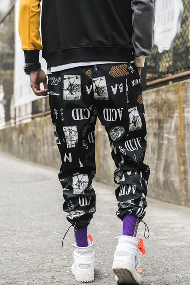 Guys Trendy Street Style Letter Printed Drawstring Cuffs Loose Fit Casual Track Pants