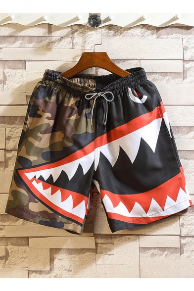 Hot Fashion Camouflage Shark Printed Drawstring Waist Army Green Beach Shorts Casual Outdoor Shorts