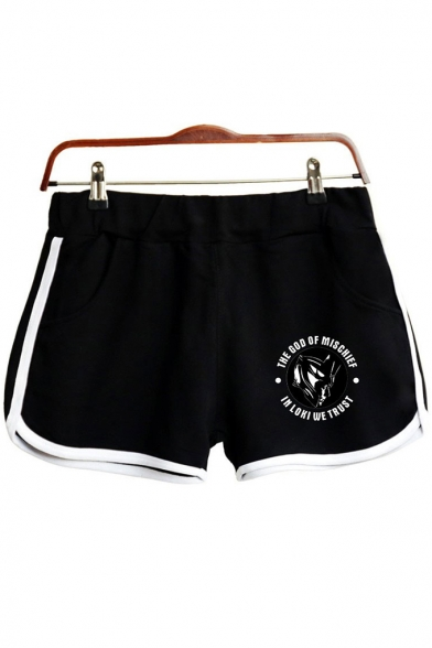 Hot Popular Comic Figure Letter Printed Contrast Trim Sport Loose Dolphin Shorts