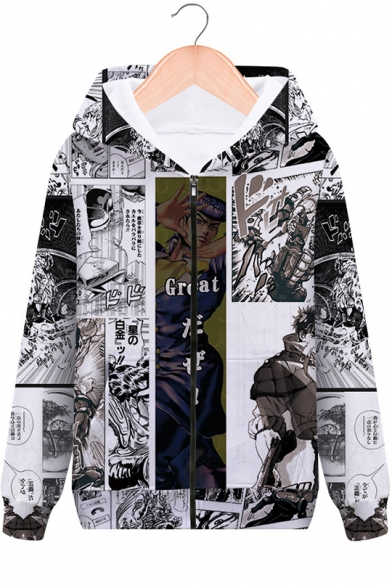 Hot Popular Jojo Comic Character Pattern Long Sleeve Zip Up Fitted Hoodie
