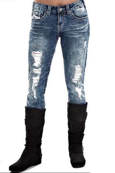 Hot Popular Vintage Light Washed Blue Distressed Ripped Slim Fit Jeans