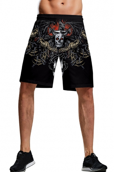 Men's Cool Fashion 3D Halloween Skull Printed Black Drawstring Waist Relaxed Shorts