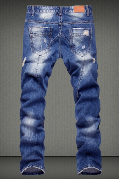 Men's Fashion Retro Washed-Denim Relaxed Fit Blue Ripped Casual Jeans