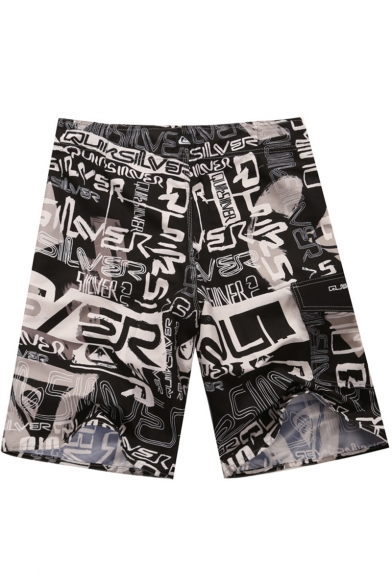 Men's Letter Printed Black Quick Dry Casual Relaxed Shorts Swim Trunks