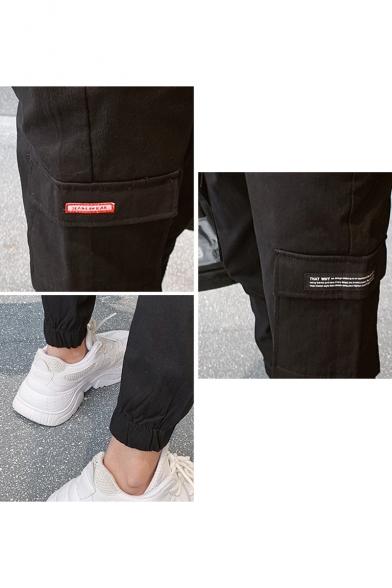 Men's New Fashion Double Flap Pocket Side Elastic Cuffs Simple Plain Black Cargo Pants