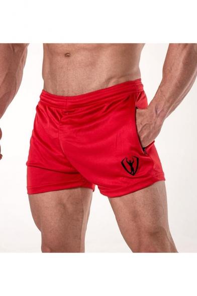 Men's New Fashion Logo Printed Elastic Waist Zipped Pocket Breathable Athletic Shorts