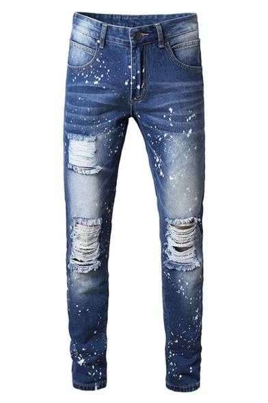 Men's New Stylish Splashing Ink Printed Frayed Ripped Jeans