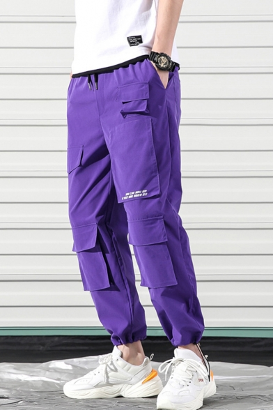 Men's Street Style Fashion Letter Printed Drawstring Waist Casual Loose Track Pants Multi-pocket Cargo Pants