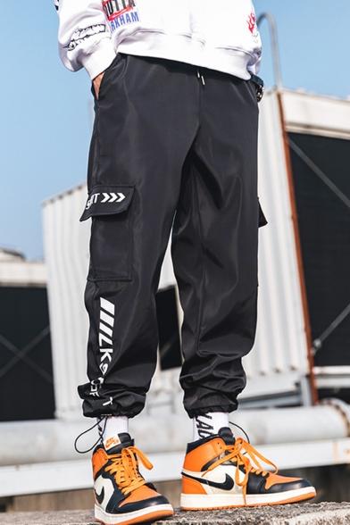 Men's Street Trendy Letter SPORT Printed Drawstring Waist Casual Loose Track Pants Cargo Pants