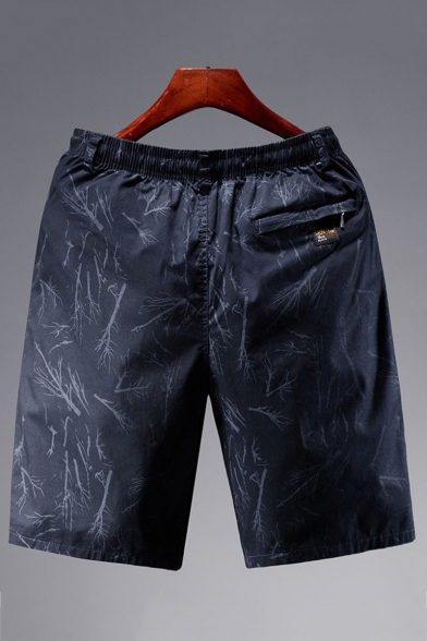 Men's Summer Fashion Printed Elastic Waist Casual Loose Cotton Shorts
