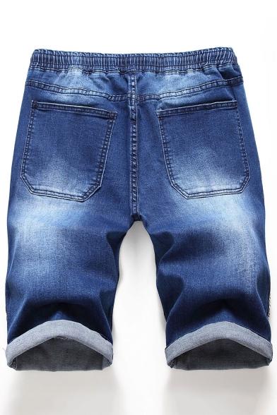Men's Summer Fashion Tape Side Pleated Detail Drawstring Waist Rolled Cuffs Blue Denim Shorts